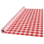 Red Gingham Plastic Table Cover - 40 in. x 100 Ft.