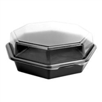 Octaview Hinged 1 Compartment Polystyrene Deep Black and Clear