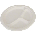 ChampWare 3-Section Molded Fiber Plates White - 10 in.