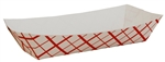 Red Check Hot Dog Tray Paperboard - 7 in. x 2.75 in. x 1.5 in.