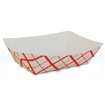 Paperboard Food Tray Red Checked - 3 Lb.