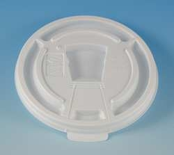 White Drink-Thru Plastic Lid For 8-Oz Foam Cup