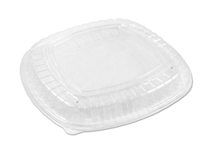 16 in. Forum Low Dome Lid Vented Plastic Clear