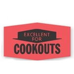 Excellent For Cookouts Glo Red Label - 1.37 in. x 0.78 in.