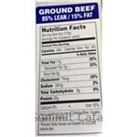 Ground Beef 85 Percent Lean and 15 Percent Fat Royal Blue Label - 1.5 in. x 3 in.