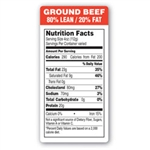 Ground Beef 80 Percent Lean and 20 Percent Fat Red Label - 1.5 in. x 3 in.