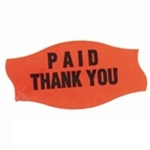 Curly-Q Fluorescent Red Paid Thank You Label - 1.56 in. x 0.81 in.