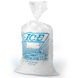 Stock Print Clear Ice Bag - 12 in. x 21 in.