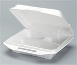 Large 3 Compartment Foam Hinged Dinner Container White - 9.25 in. x 9.25 in. x 3 in.