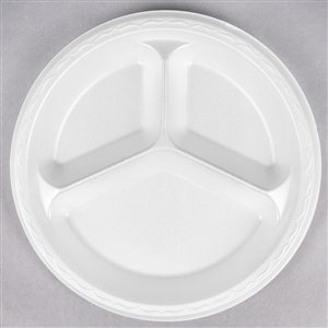 3 Compartment Laminated Foam Plate White - 10.25 in.