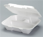 Large 3 Compartment Snap It Foam Hinged Dinner Container - 9.25 in. x 9.25 in. x 3 in.