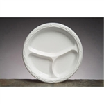 Aristocrat Plate 3 Compartment Hi-Impact White - 10.25 in.
