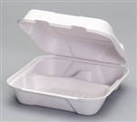 Compostable Large Hinged 3 Compartment Container White - 9.2 in. x 9.1 in. x 3.1 in.