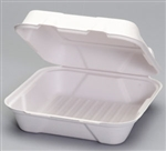 Harvest Fiber Hinged 1 Compartment Container White - 9.2 in. x 9.1 in. x 3.1 in.