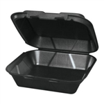Snapit 1 Compartment Hinged  Foam Container Black - 9  in.x 9 in. x 3 in.