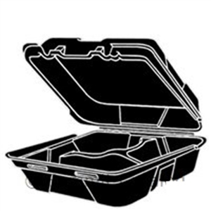 3 Compartment Hinged Foam Container Black - 8.25 in. x 8 in. x 3 in.