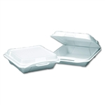 Large Foam Hinged Dinner Container White - 9.25 in. x 9.25 in. x 3 in.