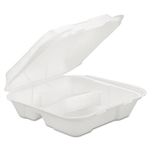 3 Compartment Hinged Foam Container - 9.25 in. x 9.25 in. x 3 in.