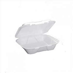 1 Compartment Hinged Foam Container White - 9.25 in. x 9.25 in. x 3 in.
