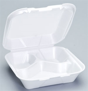 3 Compartment Hinged Foam Container White - 8.25 in. x 8.25 in. x 3 in.