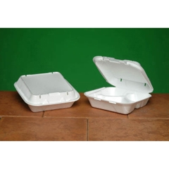 3 Compartment Vented Hinged Foam Container White - 8.25 in. x 8 in. x 3 in.