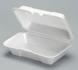 1 Compartment Hinged Foam Container White Deep Small - 8.25 in. x 5.18 in. x 3 in.