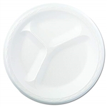 Celebrity Non Laminated 3 Compartment White Foam Plate - 8.88 in.