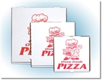 Corrugated Pizza Boxes B Stock Print White and Red - 10 in. x 10 in. x 1.75 in.