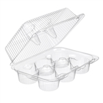 6 Count Cupcake Hinged Containers PETE - 9.62 in. x 6.75 in. x 3.7 in.