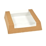 White and Kraft CCSUS Window Bakery Box - 9.43 in. x 9.43 in. x 2.5 in.