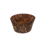 3.5 Oz. Brown with Gold Scroll Round Baking Cup - 2.25 in. x 1.88 in.