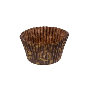Brown with Gold Scroll Paper Baking Cup - 2.75 in. x 3 in.