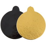 Round Cake Pad Corrugated Gold and Black - 3.25 in.