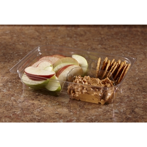 Large 3 Compartment Snack Box Clear - 8.4 in. x 6.11 in. x 1.77 in.