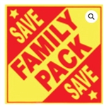 Family Pack Save Label Red On Yellow - 3 in. x 3 in.