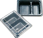 30 oz Combo 2-Cmpt Shallow Black Oblong Tray and Lid Black