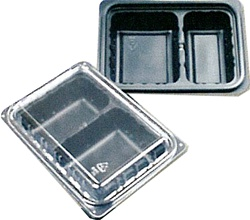 24 oz Combo 2-Cmpt Shallow Black Oblong Tray and Lid Black