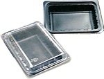 24oz Combo 1-Cmpt Shallow Black Oblong Tray and Lid