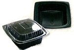 16 oz Trays and Lids Black