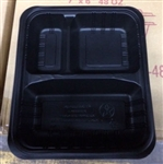 48 oz - 3 Compartment Trays and Lids Black and Black