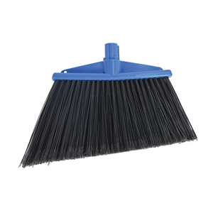 Angle Broom Polypropylene 13 in. with Black Flagged Bristles Blue