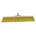 Hygiene Push Broom White and Red Hard Bristle - 19.5 in.