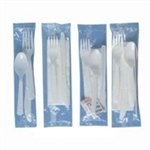 Polystyrene White Knife, Fork, Teaspoon Salt, Pepper and Napkin