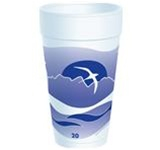 Dart Horizon Stock White with Blueberry Print Cups 20 oz