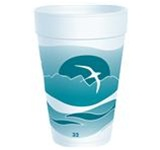 Dart Horizon Stock White with Teal Print Cups 32 oz