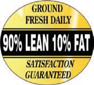 90 Percent Lean Foil Oval Nutritional Grinds Continued Label - 1.25 in. x 2 in.