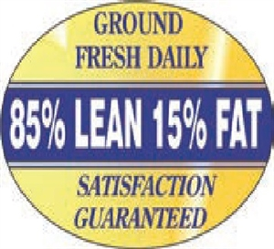 85 Percent Lean Foil Oval Nutritional Grinds Continued Label - 1.25 in. x 2 in.