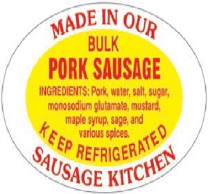 Bulk Pork Sausage Oval Label - 1.25 in. x 2 in.