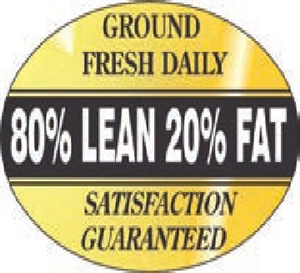 80 Percent Lean Foil Oval Nutritional Grinds Continued Label - 1.25 in. x 2 in.