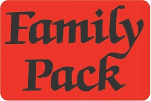 Black and Full Red Family Pack Label - 3 in. x 2 in.